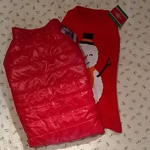 Doggy coat and sweater. Red, with a snowman